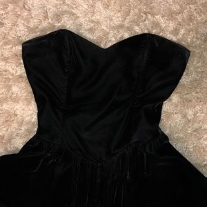 Vintage black velvet midi dress sweetheart prom